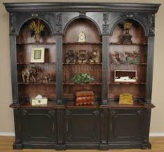 handsome distressed black mahogany georgian bookcase triple arch