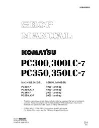 komatsu hydraulic excavator pc300 7 pc300lc 7 pc350 7 pc350lc 7
