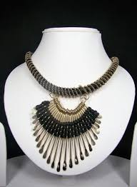 metal necklace designs images Black thread and non precious metal designer tibetan necklace with jpg
