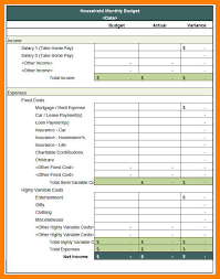 5 monthly household budget template packaging clerks