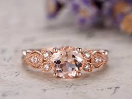 pink morganite engagement ring diamond solid 14k rose gold promise
