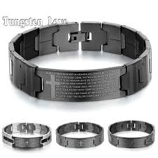 stainless steel bracelet bangle images Men 39 s black silver stainless steel english lord 39 s prayer bible jpg