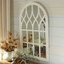 Ideas Design For Arched Window Mirror Whitewashed Window Mirror Window Walls And Lights