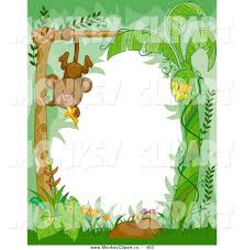 clip art of a cute animal border of a hanging monkey in the green
