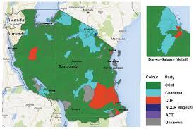 Map Of Tanzania Tanzanian Affairs 2015 Elections U0026 Results