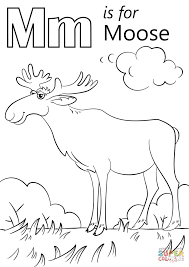letter m is for moose coloring page free printable coloring pages