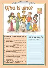 who is who worksheet for present continuous free esl printable