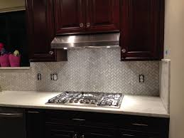 kitchen stone backsplash ideas with dark cabinets tray ceiling
