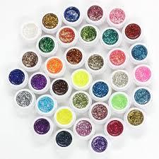 professional 36 pots pure colors shimmering powder nail art decor