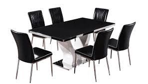 Table With 6 Chairs Black Brown Marble Effect Dining Table And Chairs U2013 Bighouse Furniture