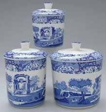 italian canisters kitchen 3 pc canister set spode blue italian camilla newer at