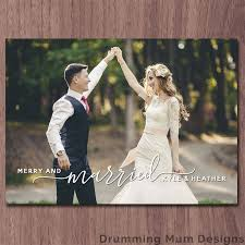 newly wed christmas card married christmas card merry and married card photo