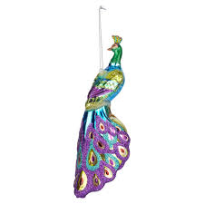 buy the peacock shape glass ornament by ashland at