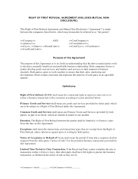 Non Disclosure Statement Template by Of Refusal With Non Disclosure Agreement