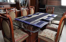 indian blue silk kitchen dining table runner placemats dinner
