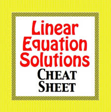 linear equation solutions cheat sheet foldable one solution no