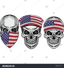 American Flag Skull Gothic Coat Arms Skull Bandanna American Stock Vector 655992868