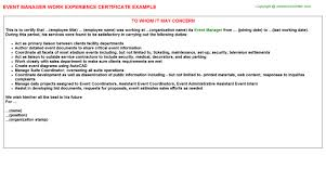 event manager work experience certificate