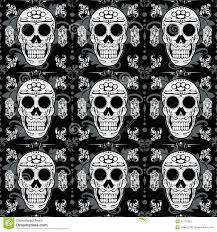 skull wrapping paper white sugar skull seamless background stock illustration