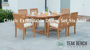 Extendable Dining Table With Bench by Classic Extendable Dining Set Six Seat Teak Bench Company Youtube