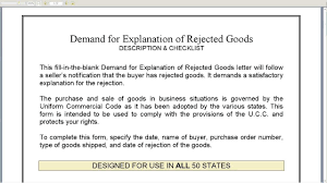 Rejecting Goods Letter demand for explanation of rejected goods