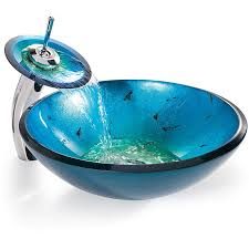 blue glass vessel sink kraus irruption glass vessel sink in blue with single hole single