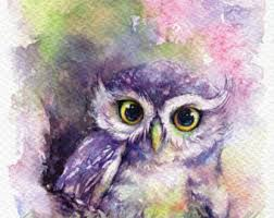 owl art watercolor owl print rainbow owl owl watercolor