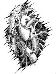 mechanical heart tattoo on chest real photo pictures images and