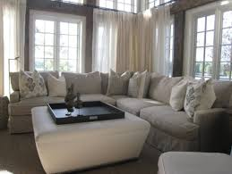 Ottoman Slipcovers Pottery Barn Good Looking Sectional Couches In Family Room Eclectic With Square