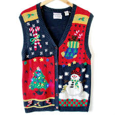 Ugly Christmas Sweater With Lights Vintage 90s Light Up Ugly Christmas Sweater Vest The Ugly