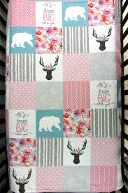 baby crib bedding pink grey patchwork baby quilt woodland