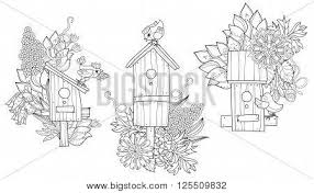 doodle outline nesting box decorated with floral
