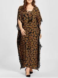 plus size lace up tassel leaf print poncho dress dark camel plus