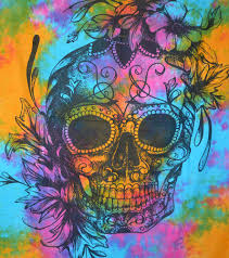 twin human skull tapestries grateful dead psychedelic tapestry