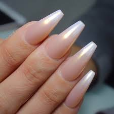 pearl ombre long coffin nails so pretty love love love nail