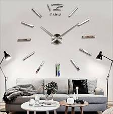 home decor wall clocks amazon com looyuan diy large wall clock 3d mirror sticker metal big