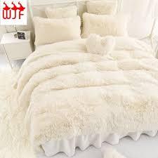Fur Bed Set 4pcs Bedding Sets Lamb Fur Mink Blanket Faux Fur Fleece Throw