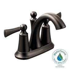 moen wynford 4 in centerset 2 handle high arc bathroom faucet in