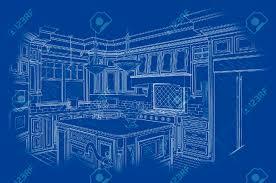 Kitchen Design Sketch Beautiful Custom Kitchen Design Drawing In White On Blue