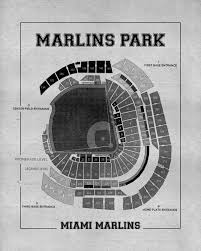 what size paper are blueprints printed on vintage print of marlins park seating chart miami marlins baseball
