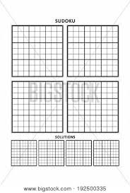 sudoku puzzle blank template four grids with solution grids on