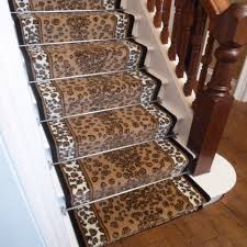 stair great home interior design with brown printed leopard runner