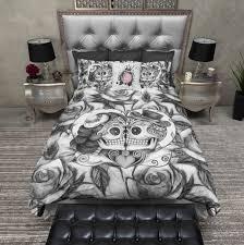 Bed And Bath Duvet Covers Lightweight Black And White Rose Kissing Sugar Skull Duvet Cover