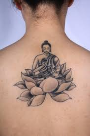 black and grey buddha on lotus flower on back