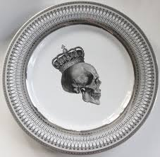 halloween plates silver skull dishes foodsafe dinnerware skull plates