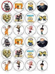 despicable me cake topper 24 x despicable me 2 edible rice wafer paper bun cup cake top toppers