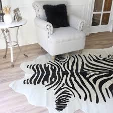 Black Cowhide Rugs Natural White And Black Printed Zebra Cowhide Rug Eluxury Home