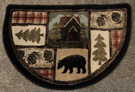 rustic bear plush cabin lodge fireplace hearth rug mat half round