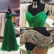 emerald green chiffon evening dresses formal crystal long party