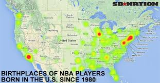 us map atlanta to new york this map shows which states produce the most nba players